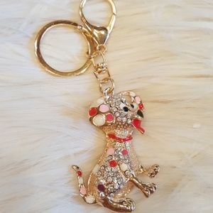 ROSEGOLD RED PINK YELLOW BLING PUPPY KEYCHAIN